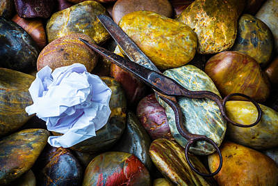 Pivot Photograph - Paper Scissors Rocks by Garry Gay