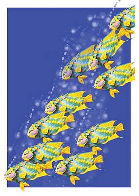 Painting - Paper Sculpture Fish by Thomas Lupari