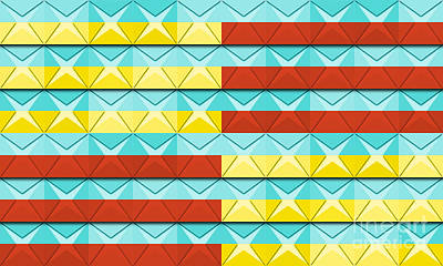 Paper Squares - Turquoise With Yellow And Fiesta Red Stripes No. 4 Original