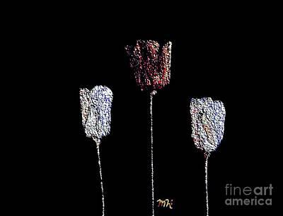 Paper Tulips Three Beads Original by Marsha Heiken