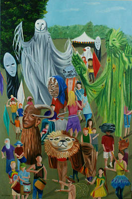 Painting - Paperhand Puppet Parade by Jill Ciccone Pike