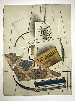 Mourlot Painting - Papiers Colles Series Bouteille De Vieux Marc Verre Et Le Journal by Pablo Picasso