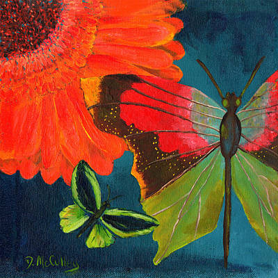 Gerbera Daisy Painting - Papillon Bleu-blue Butterfly by Debbie McCulley