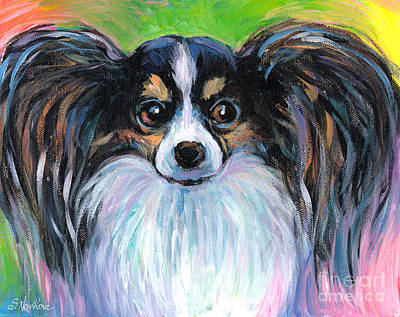 Dog Portrait Drawing - Papillon Dog Painting by Svetlana Novikova