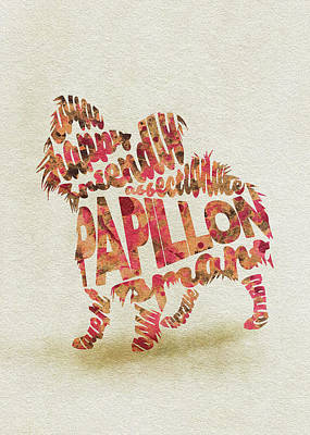 Papillon Dog Watercolor Painting / Typographic Art Art Print