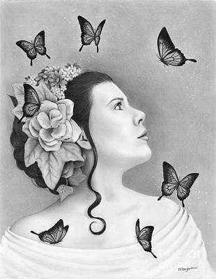 Drawing - Papillon by Mayumi Ogihara