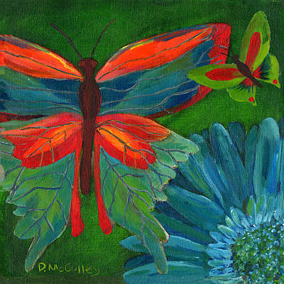 Gerbera Daisy Painting - Papillon Vert - Green Butterfly by Debbie McCulley