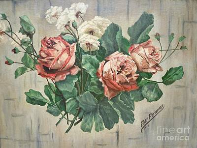 Painting - Flygende Lammet Productions             Pappa's Roses 1933 by Sigrid Tune