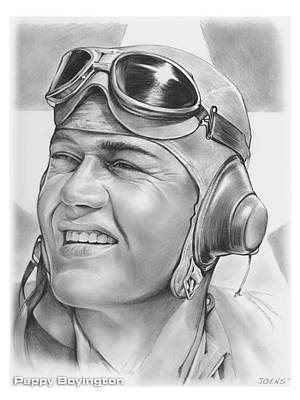 Wwii Drawing - Pappy Boyington by Greg Joens