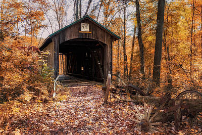 Colorful Photograph - Pappy Hayes Covered Bridge by Tom Mc Nemar
