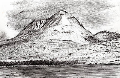 Sea View Drawing - Paps Of Jura by Vincent Alexander Booth