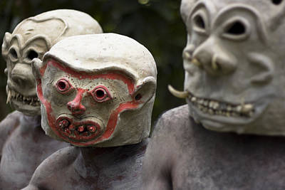Mudman Photograph - Papua New Guinea Mudmen Masks by Polly Rusyn