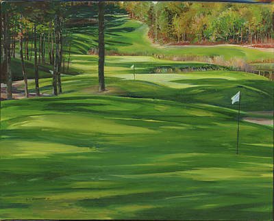 Sports Paintings - Par for the Course at Indian Pond by P Anthony Visco