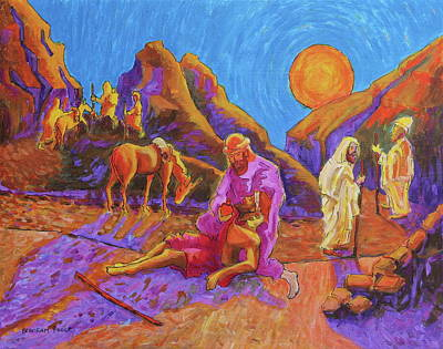 Painting - Parables Of Jesus Parable Of The Good Samaritan Painting Bertram Poole by Thomas Bertram POOLE