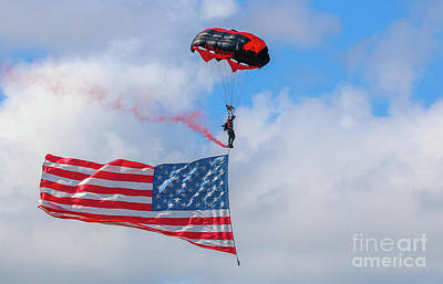 Photograph - Parachute And Flag by Tom Claud