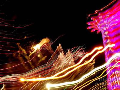 Photograph - Parachute Jump Fireworks by Ed Weidman