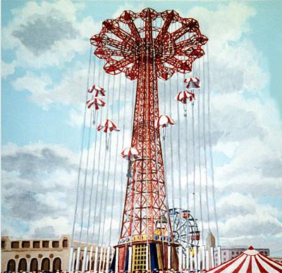 Parachute Jump In Coney Island New York Art Print by Bonnie Siracusa