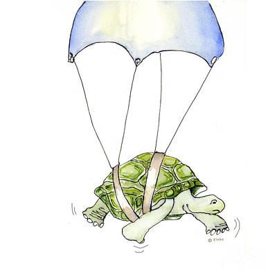 Parachute Turtle Art Print by Fran Henig