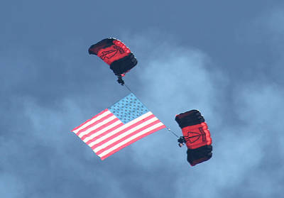 Photograph - Parachuting With Our Us Flag by Robert Banach