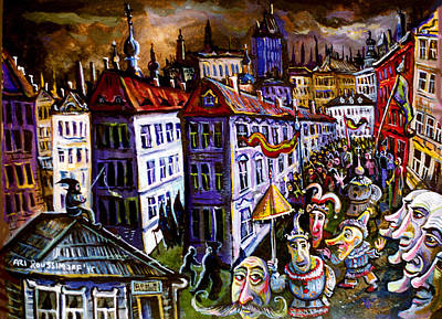 Roussimoff Wall Art - Painting - Parade After Dark by Ari Roussimoff