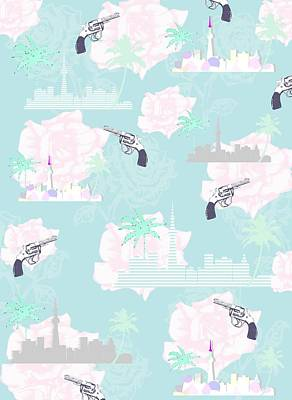Shower Curtain Digital Art - Paradise City by Beth Travers