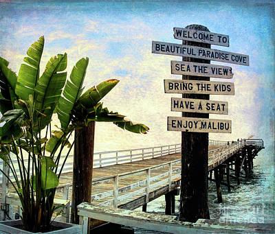 Photograph - Paradise Cove Sign by Joe Lach