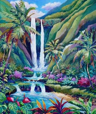 Jurassic Park Painting - Paradise Falls  Back To Nature by John Clark