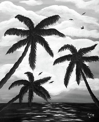 Paradise In Black And White Art Print by Teresa Wing