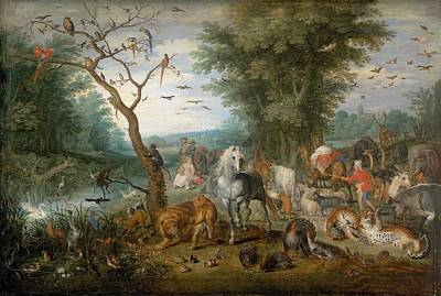 Netherlands Painting - Paradise Landscape With Animals by Jan Brueghel the Elder
