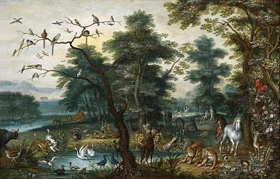 Swans... Painting - Paradise Landscape With The Fall by Jan Brueghel the Younger