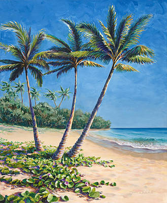 Sandy Beaches Painting - Tropical Paradise Landscape - Hawaii Beach And Palms Painting by Karen Whitworth