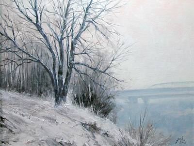Realism Wall Art - Painting - Paradise Point Bridge Winter by Jim Gola