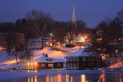 Paradise Pond Smith College Winter Evening Art Print by John Burk
