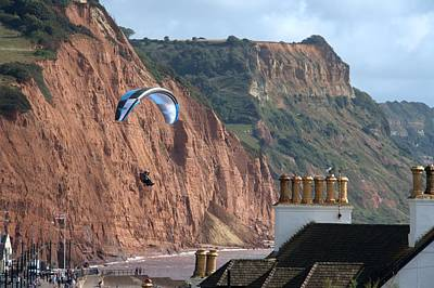 Photograph - Paraglider Over Sidmouth by Chris Day