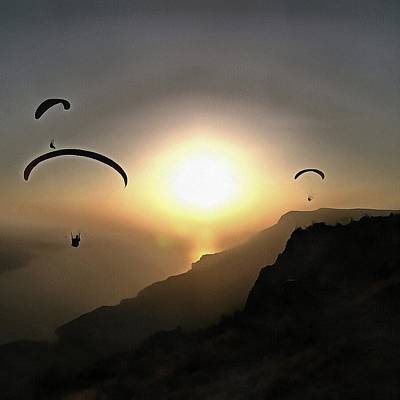 Painting - Paragliders Flying Without Wings by Tracey Harrington-Simpson