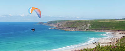 Mellow Yellow - Paragliding Cape Cornwall by Terri Waters