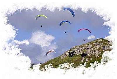Photograph - Paragliding Over Sennen Cove On Transparent Background by Terri Waters