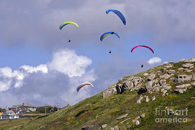 Photograph - Paragliding Over Sennen Cove by Terri Waters