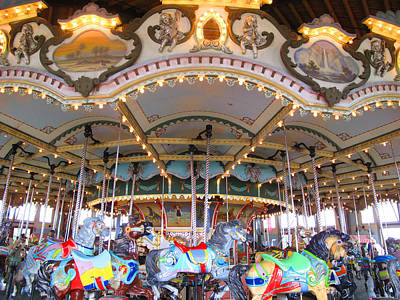 Paragon Carousel Nantasket Beach Two Art Print by Barbara McDevitt
