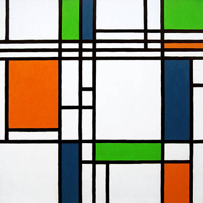 Striking Painting - Parallel Lines Composition With Blue Green And Orange In Opposition by Oliver Johnston