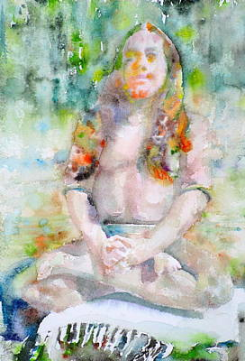 Paramahansa Yogananda - Watercolor Portrait.3 Original by Fabrizio Cassetta