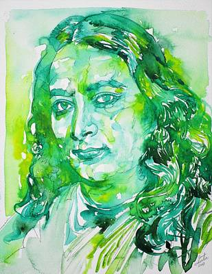 Painting - Paramahansa Yogananda - Watercolor Portrait.4 by Fabrizio Cassetta