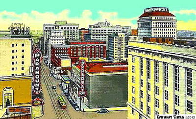 Painting - Paramount And Broadway Theatres In Portland Or In 1937 by Dwight Goss