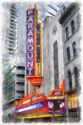 Emerson Digital Art - Paramount Theater Boston Ma by Edward Fielding