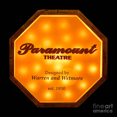 Indoor Photograph - Paramount Theater Sign by Olivier Le Queinec