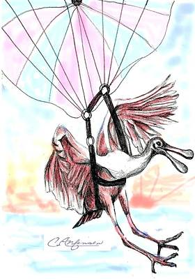 Spoonbill Drawing - Parasailing Spoonbill by Carol Allen Anfinsen