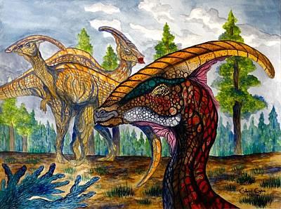 Painting - Parasaurolophus by Gabriel Cajina