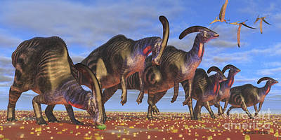 Flying Dinosaur Painting - Parasaurolophus Herd by Corey Ford