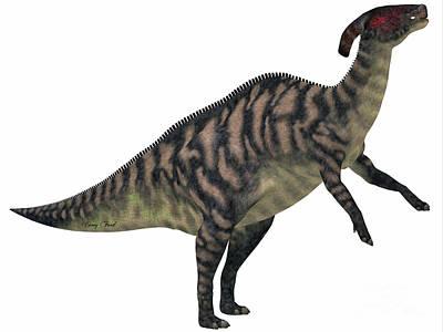 Parasaurolophus Striped On White Art Print by Corey Ford