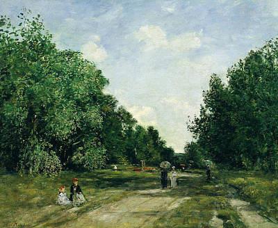 Parc Painting - Parc Cordier In Trouville by Eugene Boudin